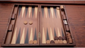 Backgammon &  chess backgammon set with racks and  colored inlays