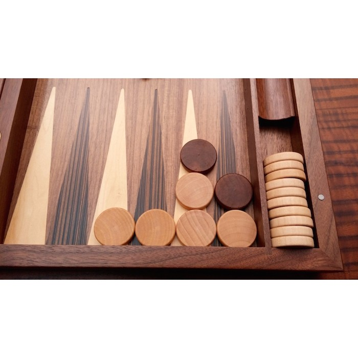 Backgammon set  with racks  and  colored inlays
