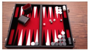 Leatherette backgammon board (red color)