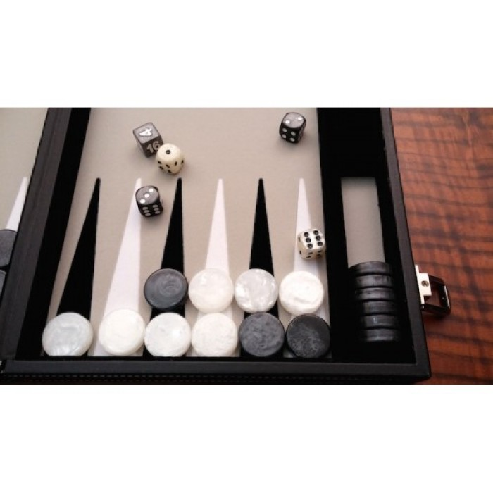 Leatherette backgammon board (grey color)