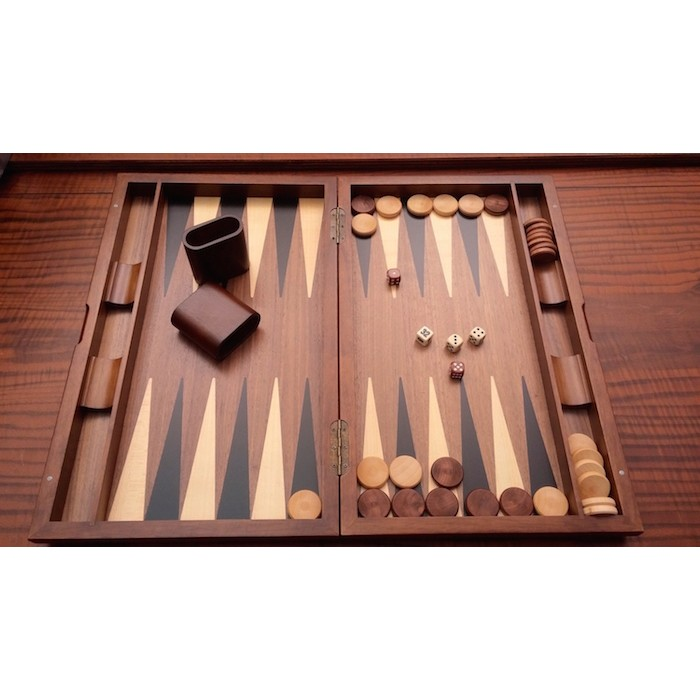 Walnut backgammon set with racks and colored inlays