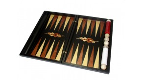 Black backgammon set with racks and colored inlays and decorative flower