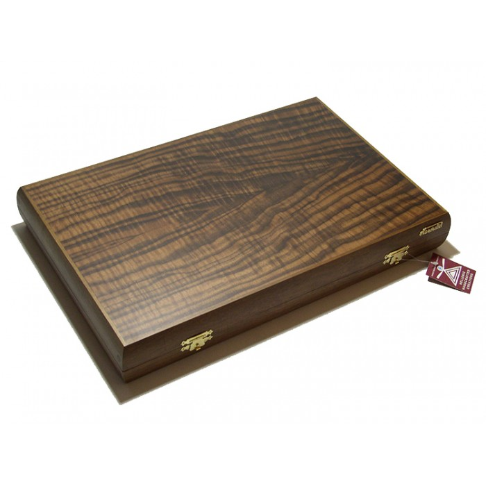 Walnut tree backgammon set with racks and colored inlays & deluxe Galalith checkers