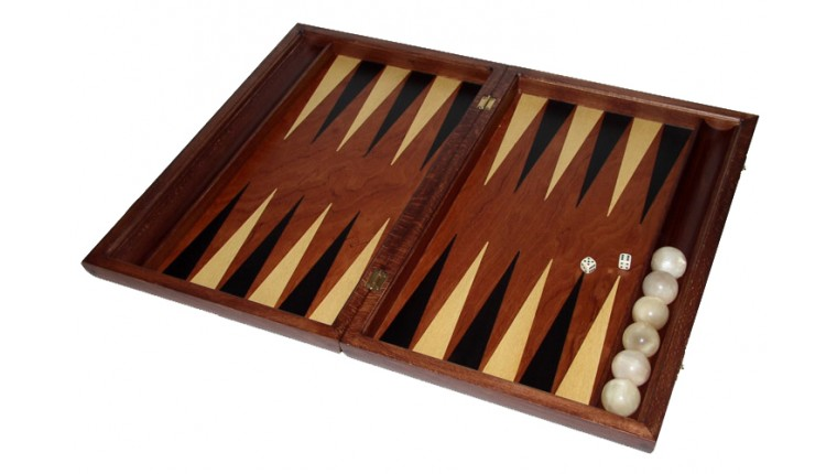 Rosewood backgammon  set with racks and colored inlays & deluxe Galalith checkers