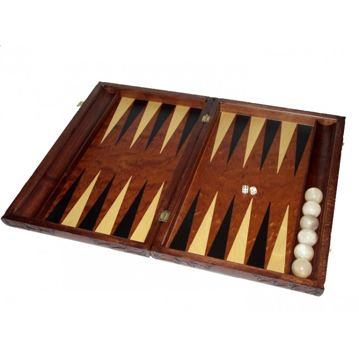 Rosewood carved  backgammon set with racks and colored inlays & deluxe Galalith checkers
