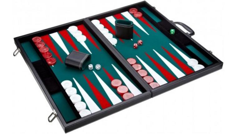 Leatherette backgammon board (green color)