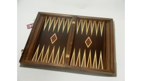 Leather bacgammon set with racks and double inlays