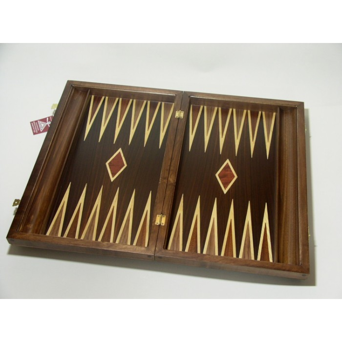 Leather bacgammon set with racks and double inlays & deluxe Galalith checkers