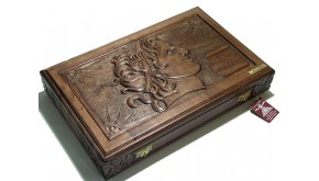 "Carved  backgammon set with racks  and double inlays ""Alexander the Great"""