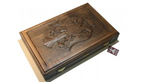 "Carved  backgammon set with racks  and double inlays ""byzantine eagle"""