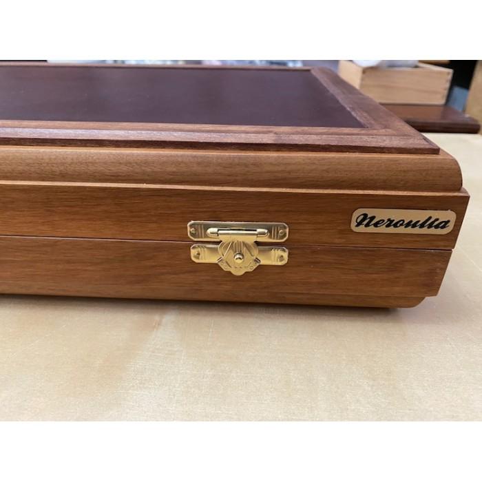 Leather backgammon board made from walnut tree