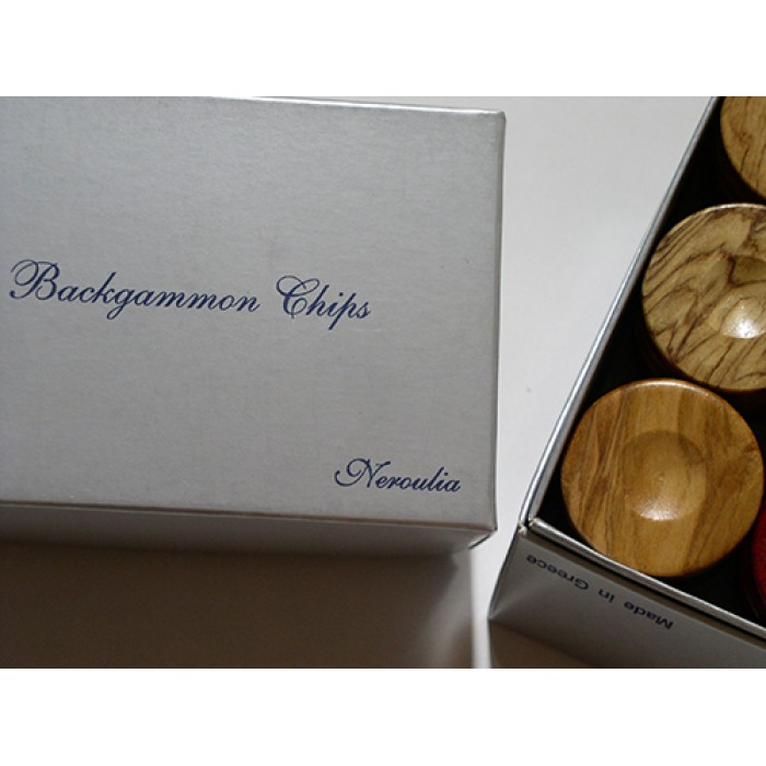 Wooden olive backgammon pieces (Brown - natural)