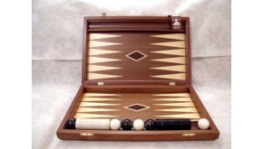 Mirror backgammon set with racks and colored inlays & deluxe Galalith checkers
