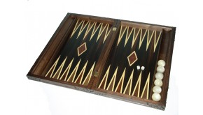 Walnut carved backgammon set with racks and colored inlays & deluxe Galalith checkers