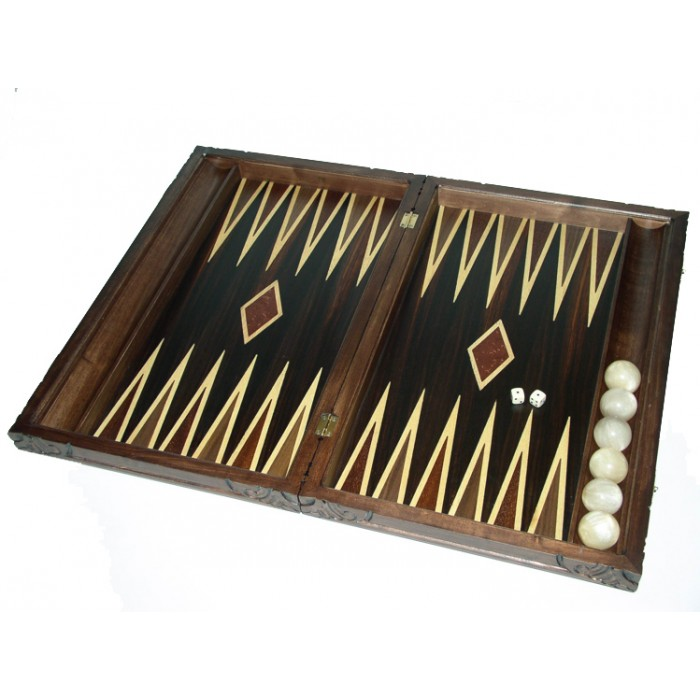 "Backgammon set carved  with racks  and double inlays ""Ancient Greek ship"" &  deluxe Galalith checkers"