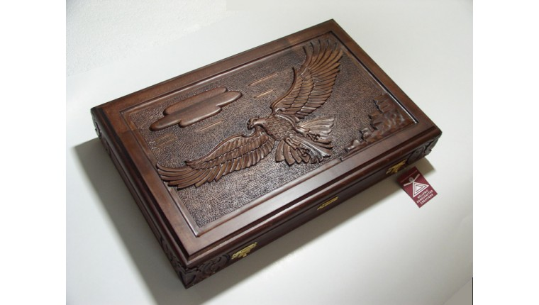 "Backgammon set carved  with racks and double inlays ""flying eagle"" theme & deluxe Galalith checkers"