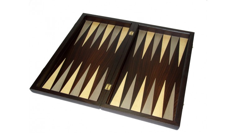 Palysander backgammon set with colored inlays & deluxe Galalith checkers