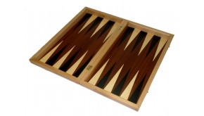 Mahogany backgammon set with colored inlays & deluxe Galalith checkers