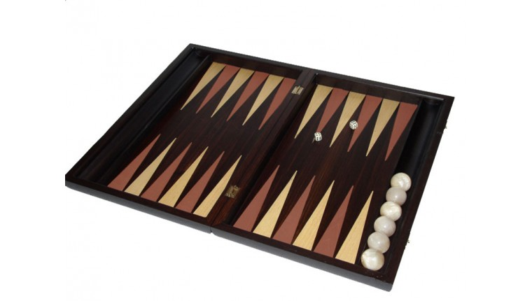 Palysander backgammon  set with racks and colored inlays & deluxe Galalith checkers