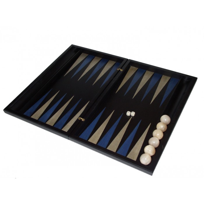 Black  backgammon set with racks and colored inlays