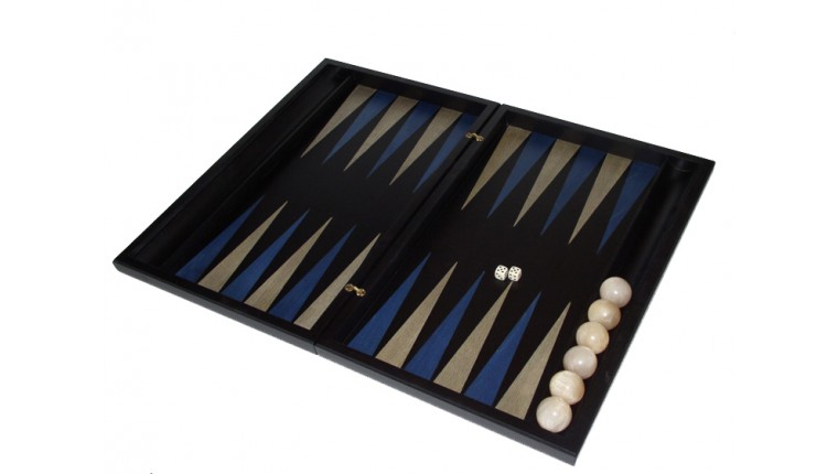 Black  backgammon set with racks and colored inlays & deluxe Galalith checkers