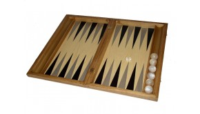 Oak backgammon set with racks and colored inlays & deluxe Galalith checkers