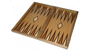 Oak  backgammon set with double inlays & deluxe Galalith checkers
