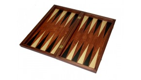 Rosewood backgammon  set with colored inlays & deluxe Galalith checkers