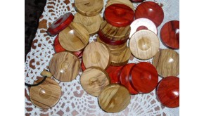 Wooden olive backgammon pieces (red - natural)