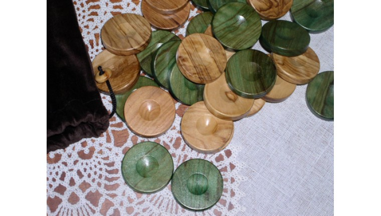 Wooden olive backgammon checkers (green - natural)