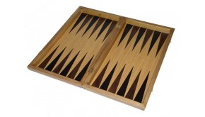 Oak  backgammon set with colored inlays & deluxe Galalith  deluxe checkers