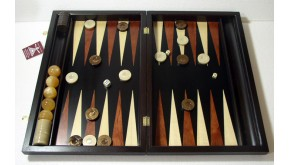 Ebony backgammon set with racks and colored inlays