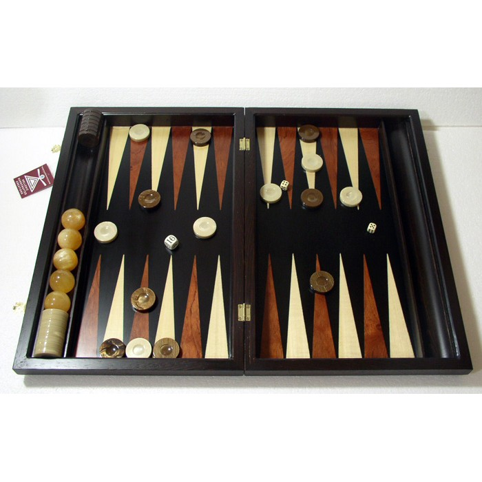 Ebony backgammon set with racks and colored inlays & deluxe Galalith checkers