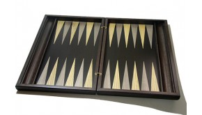 Sensation backgammon set with racks and colored inlays & deluxe Galalith checkers