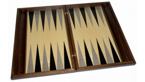 Backgammon set with racks and colored inlay & deluxe Galalith checkers