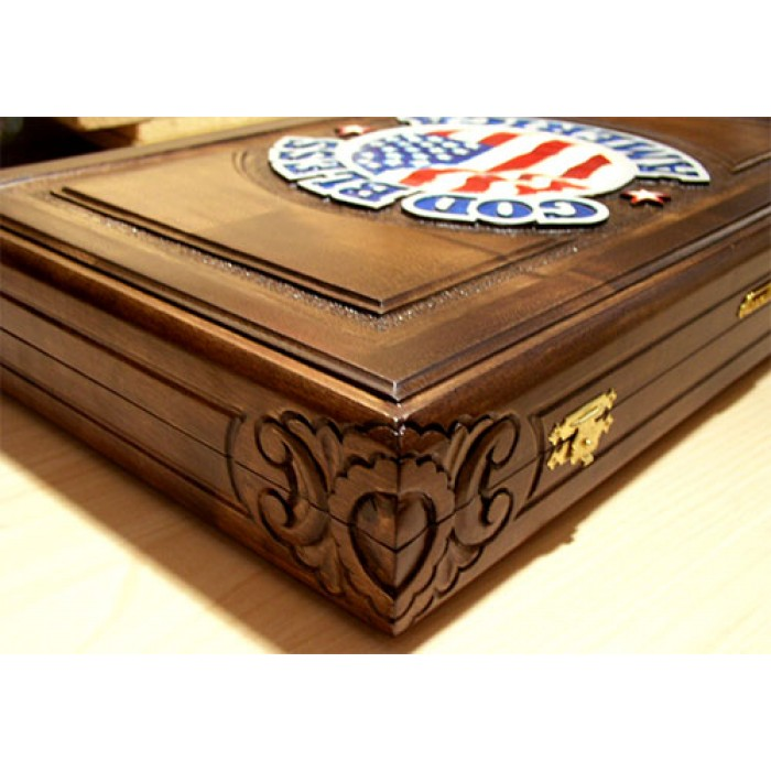 """USA"" Backgammon set  carved with racks and  double inlays  &  deluxe Galalith checkers"