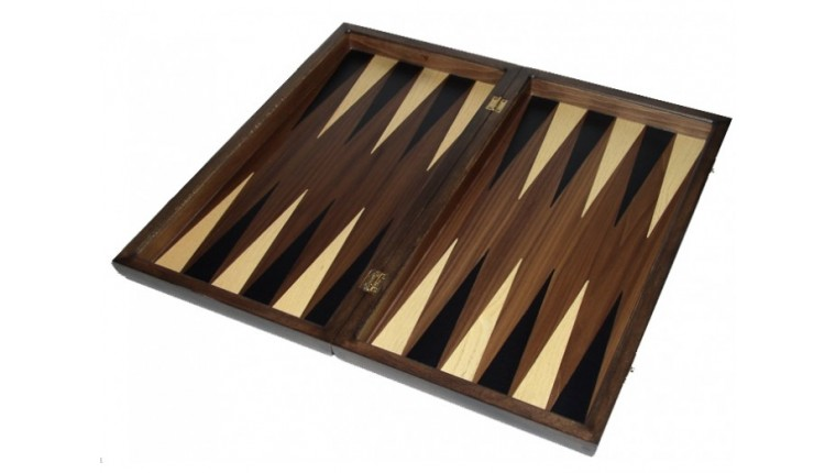 Walnut backgammon set with colored inlays & deluxe Galalith checkers