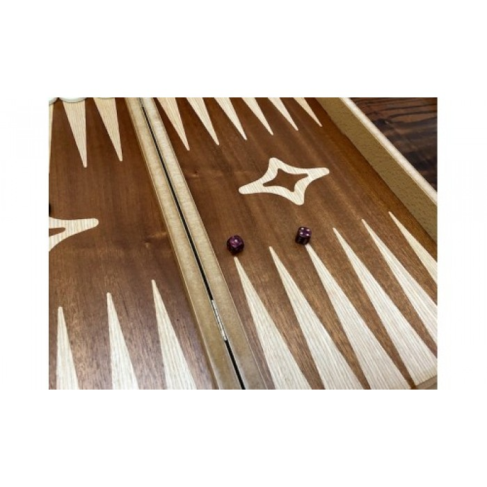 Simple mahogany backgammon set